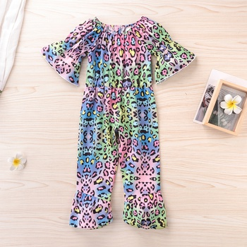 Baby / Toddler Colorful Leopard Print Flounce Jumpsuit