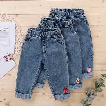 1pc Baby Girl cotton casual Fruit straight Jeans