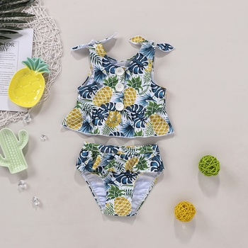 2pcs Baby Girl Floral Swimsuit