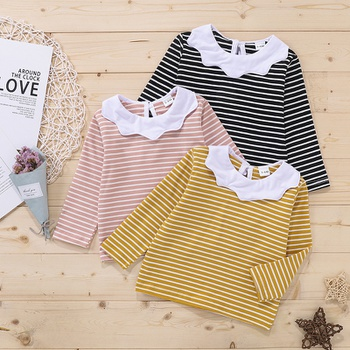 Baby Girl casual Stripes Long-sleeve Cotton Tee