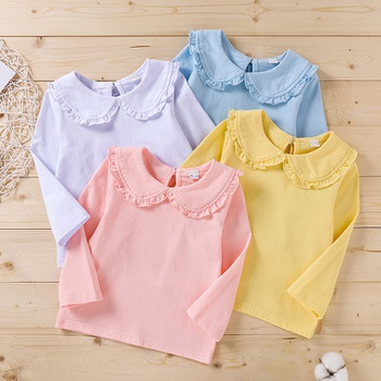 Baby Girl casual Tee Solid Cotton Fashion Long Sleeve Infant Clothing Outfits