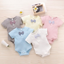 Baby Solid Bow Tie Short-sleeve Romper