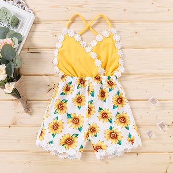 Baby / Toddler Girl Lace Sunflower Print Strappy Jumpsuit