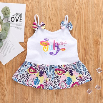 1pc Toddler Girl Cotton Sling Sweet Fruit Letter Plant Camisole