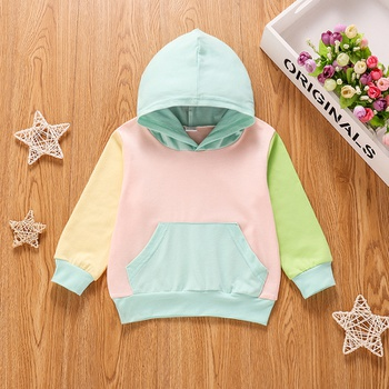 Baby Girl casual Pullovers Color block Baby Hoodie Clothes