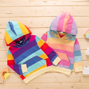 1pc Baby Boy Long-sleeve Cotton Hooded casual Rainbow Stripe Pullovers & Hoodies