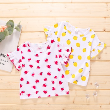Baby Girl Sweet Fruit Strawberry Lemon Flutter-sleeve Cotton Short-sleeve Tee