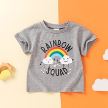 Baby Boy casual Tee Rainbow Print Solid Cotton Baby Clothes