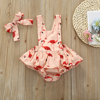 Flamingo Print Suspender Shorts with Headband