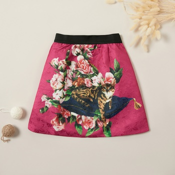 Ethnic Flower and Cat Retro Skirt