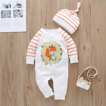 2-piece Baby Animal Fox Striped Jumpsuit and Hat Set