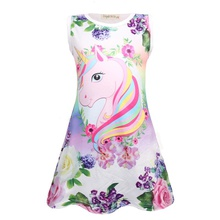 Pretty Unicorn and Flower Print Sleeveless Dress
