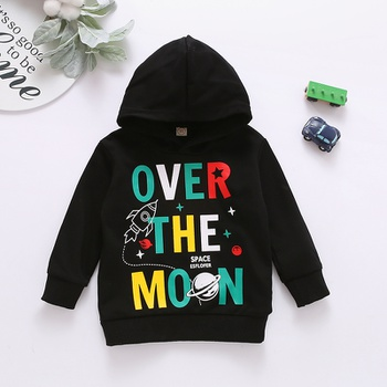 1pc Toddler Boy Cotton Hooded Long-sleeve casual Letter Pullovers & Hoodies