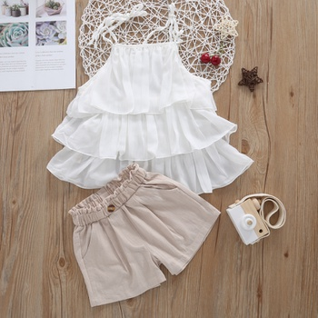 2pcs Summer Toddler Girl Cotton Sling Shorts Suit casual Toddler's Sets