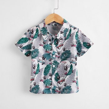 1pc Toddler Boy Short-sleeve casual Floral Shirt & Smock