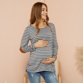 Maternity Round collar Stripes Plain Grey T-shirt