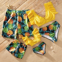 Ruffled Sleeve Pineapple Print Family Matching Swimsuits