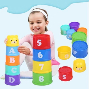 9-pcs Basics Stack & Roll Cups Stacked cups toy Rainbow Stacking Cups Early Learning Educational Plastic Cups Toddler Toy Gift