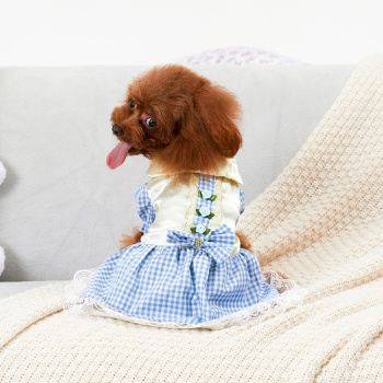 Pet Plaid Bow Lace Dress