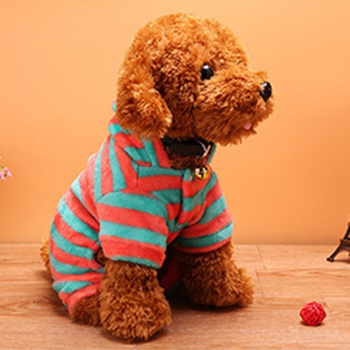 Pet four-legged clothes dog winter striped coral velvet