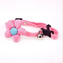 Japanese handmade cloth pet bell collar small fresh flowers and wind adjustable cat and dog bell necklace