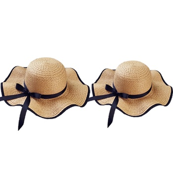 Foldable Beach Straw Hats for Mommy and Me