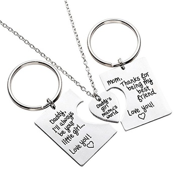 Gifts for Daughter, Daddy's Girl Mommy's World Mother Father Necklace Keychain Pendant Jewelry Set
