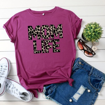 Pretty Letter Leopard Printed Short-sleeve Tee