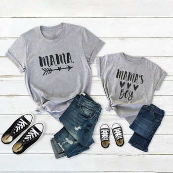 LOVE Letter Pattern Grey Cotton Tops for Mom and me