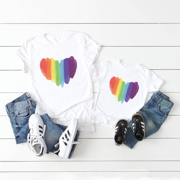 Rainbow Color Love Pattern Cotton Tops for Mom and Me