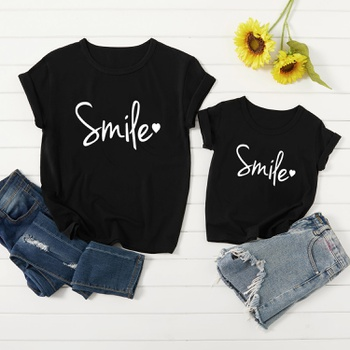 Smile Letter Print Black Cotton Tops for Mom and Me