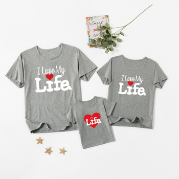 Letter Print Grey Cotton Family Matching Short Sleeve T-shirts