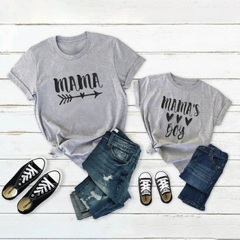 Love Letter Print Grey Cotton Short Sleeve T-shirts for Mom and Me