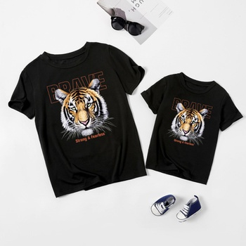 Tiger Print Black Short Sleeve Cotton T-shirts for Mommy and Me