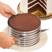 """Adjustable 6"""" to 8"""" Stainless Steel Layer Cake Slicer Cutter Mousse Mould Slicing Cake"""