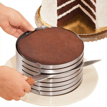 "Adjustable 6"" to 8"" Stainless Steel Layer Cake Slicer Cutter Mousse Mould Slicing Cake"