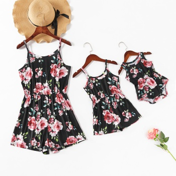 Floral Print Matching Black Sling Shorts Rompers