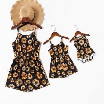 Sunflower Print Matching Black Sling Shorts Rompers