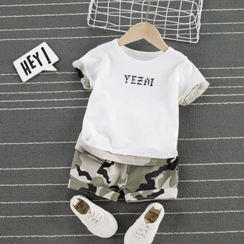 Baby Casual Letter Print Top and Camouflage Shorts Set