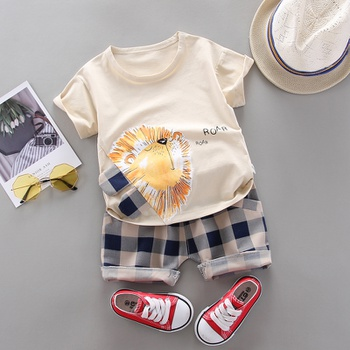 Baby Boy Trendy Cartoon Lion Top and Plaid Shorts Set (No Shoes,No Hat )