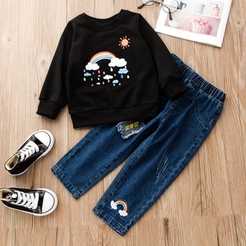 2-piece Baby / Toddler Rainbow Pullover and Denim Pants Set