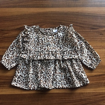 1pc Baby Girl Long-sleeve Cotton elegant Leopard Shirt & Smock