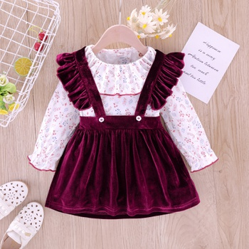 2-piece Baby / Toddler Floral Top and Velet Strappy Skirt Set