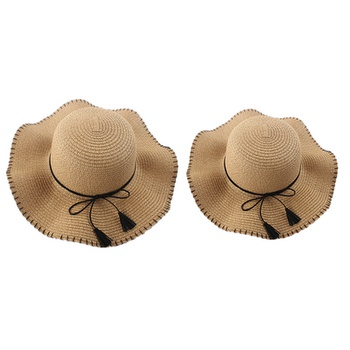 Tassel Bow Straw Hats for Mommy and Me