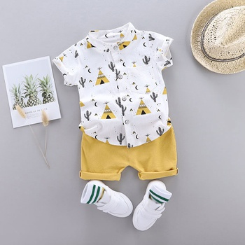 Cactus Print Short-sleeve Shirt and Pants Set