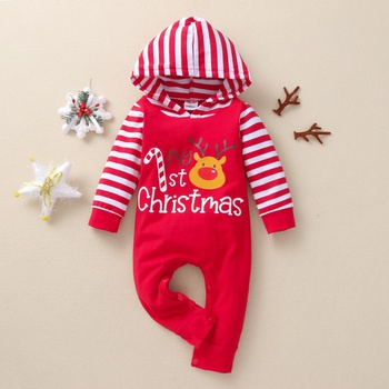 Baby Christmas Striped Hooded Jumpsuit