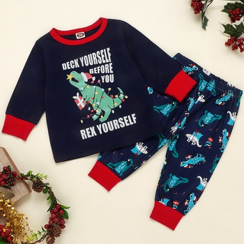 2pcs Baby Boy Party Animal & Dinosaur Baby's Sets Long Sleeve Infant Toddler Outfit