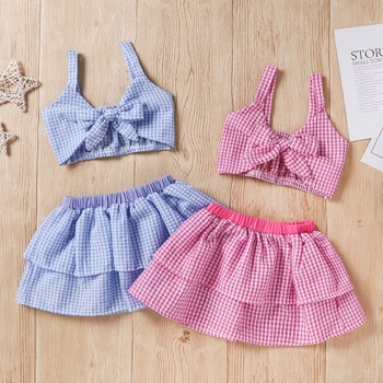 2pcs Sleeveless Baby Girl Grid Sweet Suit-dress