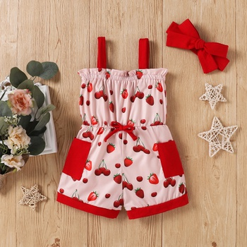 2pcs Baby Girl sling Cotton straight Jumpsuits