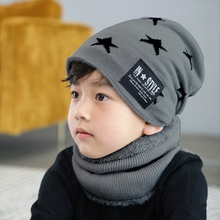 Toddler / Kid Stars Fleece Knitted Hat and Scarf Set
